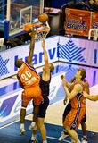Basket. VALENCIA, SPAIN - JANUARY 28: Florent Pietrus (#20 player) slam dunk during the ACB league match between Valencia Basket and Asefa Estudiantes, 85-71, on Stock Images