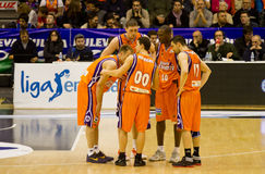Basket. VALENCIA, SPAIN - JANUARY 28: Team Valencia Basket planning strategy during the ACB league match between Valencia Basket and Asefa Estudiantes, 85-71, on Stock Photography
