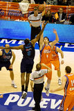 Basket. VALENCIA, SPAIN - JANUARY 28: Cedric Simmons (Blue) and Victor Claver (orange) starting the match between Valencia Basket and Asefa Estudiantes, 85-71 Royalty Free Stock Photos