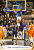 Basket. VALENCIA, SPAIN - JANUARY 28: Jayson Granger (blue shirt) scoring during the ACB league match between Valencia Basket  and Asefa Estudiantes, 85-71, on Royalty Free Stock Photos