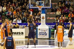 Basket. VALENCIA, SPAIN - JANUARY 28: Cedric Simmons (#9 player) free shot during the ACB league match between Valencia Basket  and Asefa Estudiantes, 85-71, on Royalty Free Stock Photography