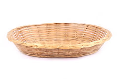 Basket. Empty wicker basket isolated on white Stock Photography