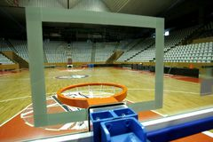 Basket. Court of Basketball arena view from behind of basket royalty free stock images