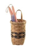 Basket. Woven basket with hand dipped candles Royalty Free Stock Photos