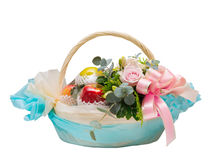 Basket of apple fruit and roses flowers for giving isolated on white Royalty Free Stock Photos