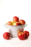A basket of apples. An isolated basket of delicious ripe apples royalty free stock photos