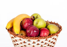 Basket with apples and bananas Stock Photo