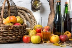 Basket of apples, bottles of cider. A basket of apples, bottles and glass of cider stock photography