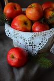 Basket of apples closeup royalty free stock photography