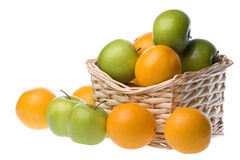 Basket of apples and oranges royalty free stock images