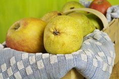 Basket with apples and pears Royalty Free Stock Photography