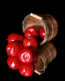 Basket of apples on a reflective surface Royalty Free Stock Images