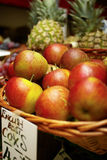 Basket of apples for sale Stock Photos