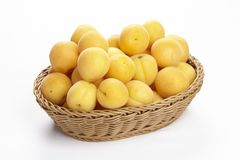 Basket of apricots Stock Photo