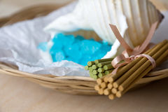 Basket with Aromatic Sticks and Bath Salt Stock Photos