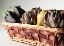 Basket of artichokes Stock Images