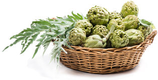 Basket with artichokes Royalty Free Stock Photo