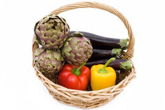 Basket With Artichokes, Peppers And Eggplants Royalty Free Stock Photography