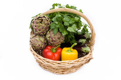 Basket With Artichokes, Peppers And Eggplants royalty free stock image