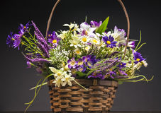 Basket of artificial flowers against dark background. Basket of artificial flowers against black background Royalty Free Stock Photography