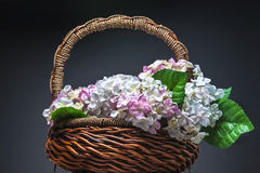 Basket of artificial flowers against dark background. Basket of artificial flowers against black background Royalty Free Stock Photo