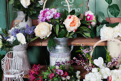 Basket with artificial flowers, beautiful Provence Royalty Free Stock Images