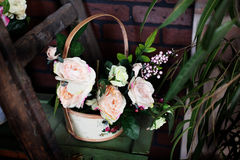 Basket with artificial flowers, beautiful Provence Stock Images
