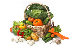Basket of assorted fresh vegetables royalty free stock images