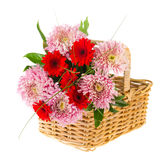 Basket with autumn bouquet Royalty Free Stock Image