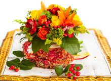 Basket of autumn flowers Stock Images