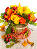 Basket of autumn flowers Stock Photo