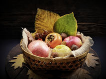 Basket with autumn fruits Royalty Free Stock Photos