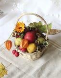 Basket with autumn goodies. Basket of organically reared autumn goodies stock photos
