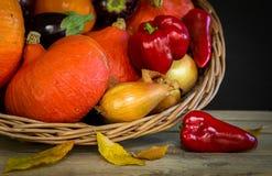 Basket with autumn vegetables,pumpkin,paprika,aubergine,tomato Stock Photo
