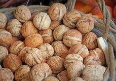 Basket of autumn walnuts Stock Photos