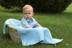 Basket Baby. Image of beautiful toddler sitting in a basket in the grass Stock Photography