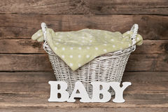 Basket with baby lettering. stock photography