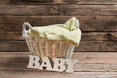 Basket and baby lettering. royalty free stock images