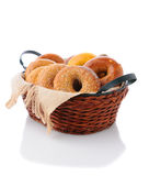 Basket of Bagels Stock Photography