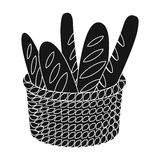 Basket of baguette icon in black style isolated on white background. France country symbol stock vector illustration. Royalty Free Stock Image