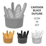 Basket of baguette icon in cartoon style  Royalty Free Stock Images