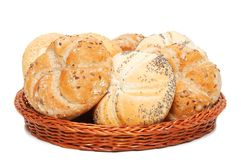 Basket with bakery products Royalty Free Stock Image