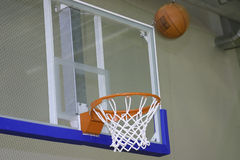 Basket with ball. Basketball basket with ball close up Royalty Free Stock Photography