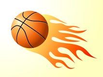 Basket-ball avec la flamme Photo libre de droits