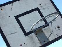Basket ball backboard. Close-up of an old, dirty and well used basket ball net Royalty Free Stock Photos