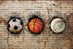 Basket-ball, base-ball et football Photo libre de droits