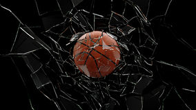 Basket Ball Breaking Glass Royalty Free Stock Images