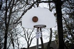 Basket-ball contre le panneau arrière Images stock