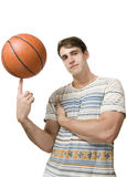 Basket ball cool on finger Stock Photos