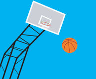 Basket ball court. On blue back ground Stock Photos